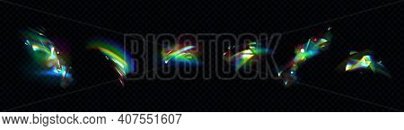 Crystal Rainbow Lights, Refraction Effects Of Rays In Glass Or Gem Stone Isolated On Transparent Bac