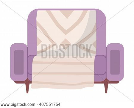 Armchair In Retro Violet Color. Modern Soft Armchair With Upholstery Of Striped Cloth. Living Room F
