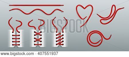 Red Shoelaces, Lacing By Ropes In Sneakers Different Ways. Vector Realistic Set Of Footwear Cords In