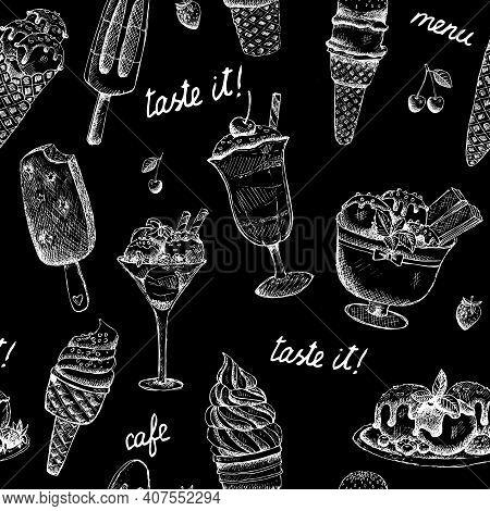 Icecream Seamless Sweet Chalkboard Pattern Vector Illustration