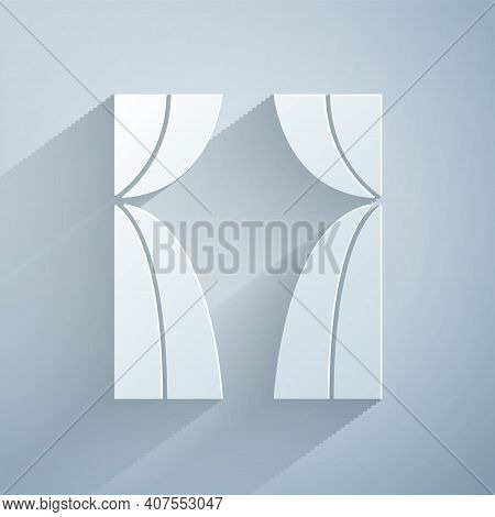 Paper Cut Circus Curtain Raises Icon Isolated On Grey Background. For Theater Or Opera Scene Backdro