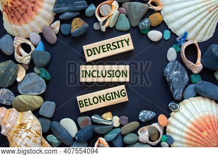 Diversity, Equality And Inclusion Symbol. Words 'diversity, Equality, Inclusion' On Wooden Blocks On