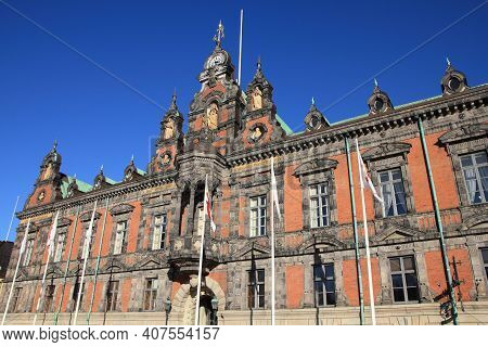 Malmo City, Sweden - The Town Hall. City In Scania County (skane In Swedish) And Oresund Region.