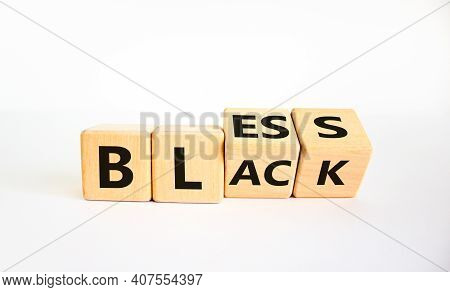 Bless Black Symbol. Turned A Cube And Changed The Word 'black' To 'bless'. Beautiful White Backgroun