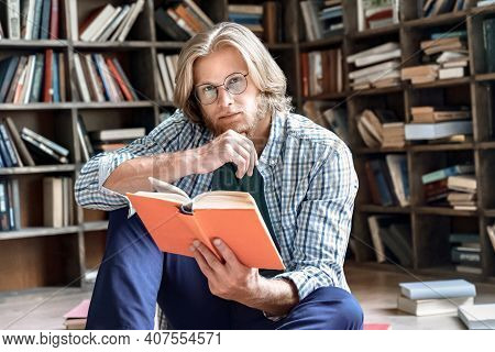 Dreamy Thoughtful Young Teacher Man Male Student Hipster Author Glasses Hand Chin Hold Read Book Stu