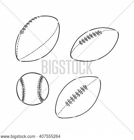 Rugby Ball In Doodle Style. Rugby Ball, Vector Sketch Illustration