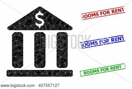 Triangle Bank Building Polygonal Icon Illustration, And Distress Simple Rooms For Rent Rubber Seals.