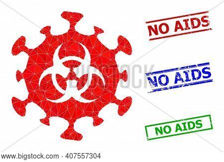 Triangle Biohazard Coronavirus Polygonal Icon Illustration, And Rubber Simple No Aids Seals. Biohaza