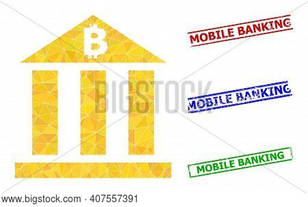 Triangle Bitcoin Bank Polygonal Icon Illustration, And Scratched Simple Mobile Banking Watermarks. B