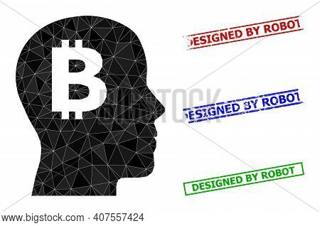 Triangle Bitcoin Imagination Polygonal Icon Illustration, And Textured Simple Designed By Robot Seal