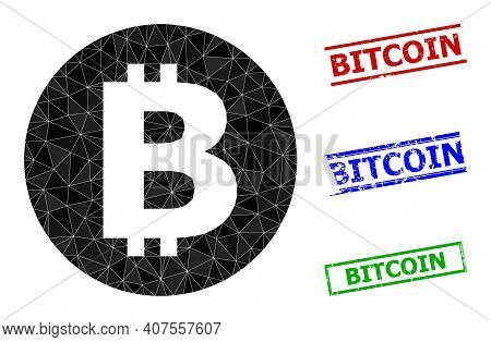 Triangle Bitcoin Polygonal Icon Illustration, And Distress Simple Bitcoin Stamps. Bitcoin Icon Is Fi