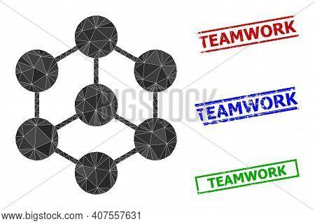 Triangle Blockchain Nodes Polygonal Icon Illustration, And Grunge Simple Teamwork Stamp Prints. Bloc