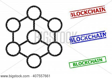 Triangle Blockchain Polygonal Icon Illustration, And Unclean Simple Blockchain Stamp Imitations. Blo