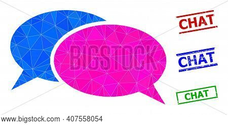 Triangle Chat Polygonal Icon Illustration, And Scratched Simple Chat Stamp Seals. Chat Icon Is Fille