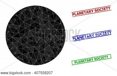 Triangle Circle Polygonal Icon Illustration, And Textured Simple Planetary Society Stamp Seals. Circ