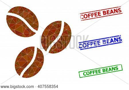 Triangle Coffee Beans Polygonal 2d Illustration, And Rough Simple Coffee Beans Stamp Seals. Coffee B