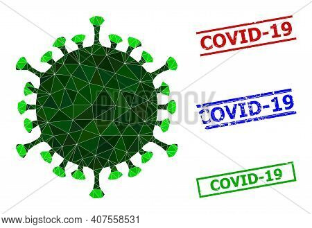 Triangle Covid Virus Polygonal Icon Illustration, And Scratched Simple Covid-19 Seals. Covid Virus I
