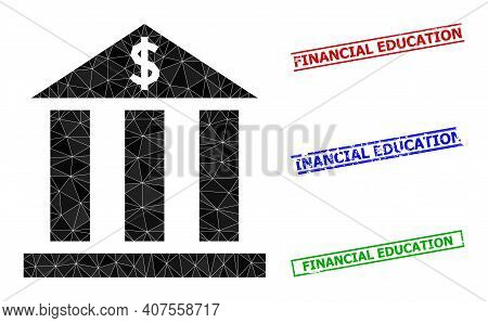 Triangle Dollar Bank Polygonal Icon Illustration, And Distress Simple Financial Education Watermarks