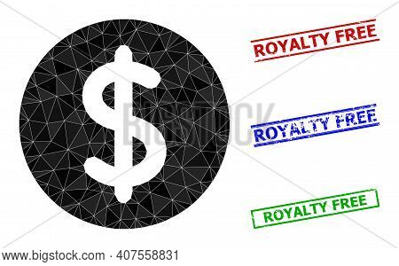 Triangle Dollar Price Polygonal 2d Illustration, And Distress Simple Royalty Free Stamp Imitations.