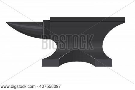 Iron Anvil Isolated On White Background. Blacksmith Anvil Tool Vector Illustration