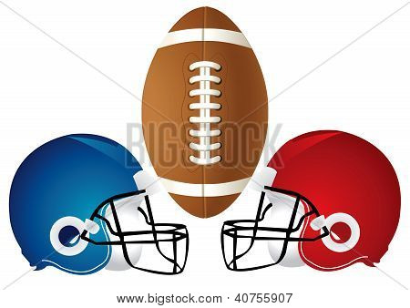Vector Illustration of a football design with helmets. poster