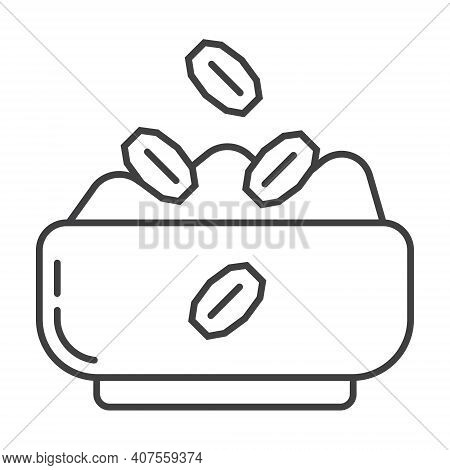 Oatmeal Porridge Icon In Outline Style. Porridge In Pot, Plate Symbol. Oatmeal Cereal Coocking And F