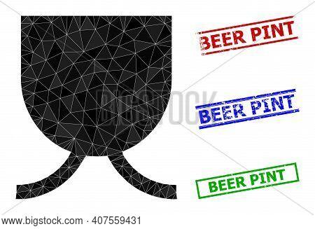 Triangle Full Mug Polygonal 2d Illustration, And Grunge Simple Beer Pint Stamp Seals. Full Mug Icon