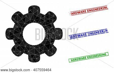 Triangle Gear Wheel Polygonal Icon Illustration, And Scratched Simple Hardware Engineering Seals. Ge