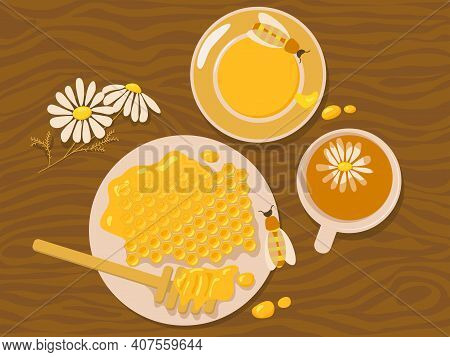 Chamomile Tea And Honey. Vector Illustration With Honeycomb, Bees And Flowers At The Wooden Table. H