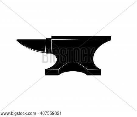 Black Iron Anvil Icon Isolated On White Background. Blacksmith Anvil Tool Vector Illustration