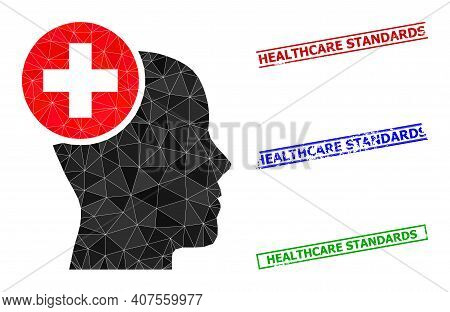 Triangle Head Treatment Polygonal Icon Illustration, And Scratched Simple Healthcare Standards Stamp