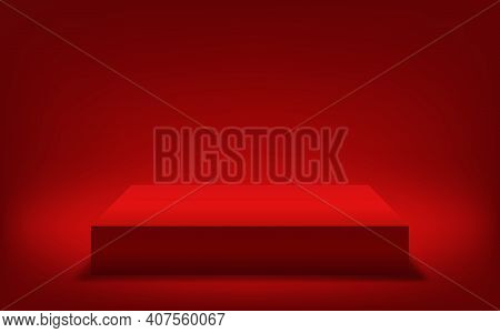 Red Platform For Product Demo. 3d Vector