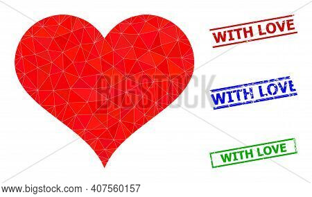 Triangle Love Heart Polygonal Icon Illustration, And Unclean Simple With Love Stamp Seals. Love Hear