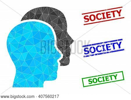 Triangle Man Heads Polygonal Icon Illustration, And Grunge Simple Society Seals. Man Heads Icon Is F