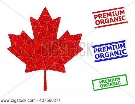 Triangle Maple Leaf Polygonal Icon Illustration, And Distress Simple Premium Organic Stamp Imitation