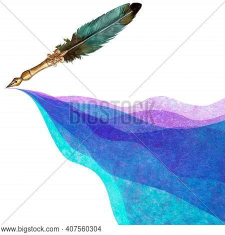 Vintage Style Fountain Pen With Spilled Colorful Ink On White Background. Watercolor Hand Drawn Old-