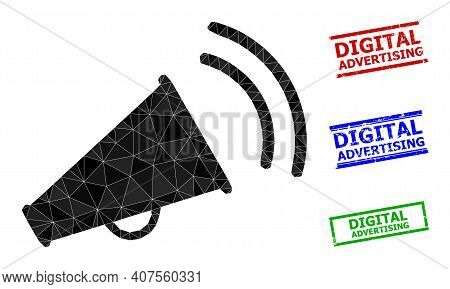Triangle Marketing Horn Polygonal Icon Illustration, And Textured Simple Digital Advertising Stamps.