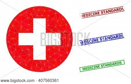Triangle Medical Aid Polygonal Icon Illustration, And Rubber Simple Medicine Standards Stamp Seals.