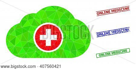Triangle Medical Cloud Polygonal Icon Illustration, And Scratched Simple Online Medicine Stamp Seals