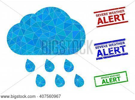 Triangle Rain Cloud Polygonal Icon Illustration, And Rubber Simple Severe Weather Alert Seals. Rain
