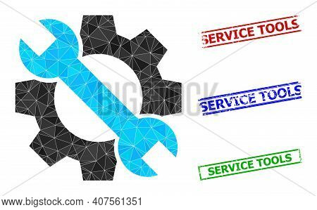 Triangle Service Tools Polygonal Icon Illustration, And Distress Simple Service Tools Watermarks. Se
