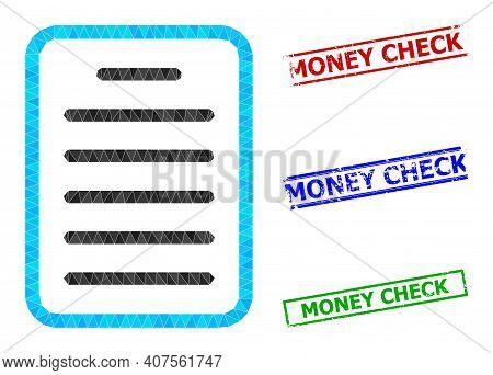 Triangle Text Page Polygonal Symbol Illustration, And Scratched Simple Money Check Seals. Text Page