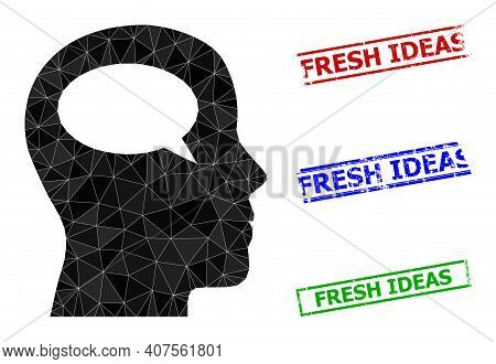 Triangle Thinking Polygonal Icon Illustration, And Textured Simple Fresh Ideas Stamp Seals. Thinking