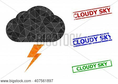 Triangle Thunderstorm Polygonal Icon Illustration, And Unclean Simple Cloudy Sky Stamp Seals. Thunde