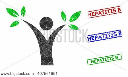 Triangle Tree Man Polygonal Icon Illustration, And Unclean Simple Hepatitis B Stamps. Tree Man Icon