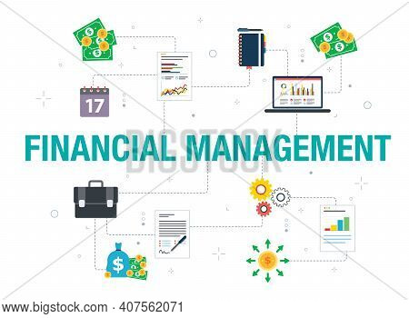Financial Management Concept With Icon Design In Vector On White Background. Vector Icons Of Contrac