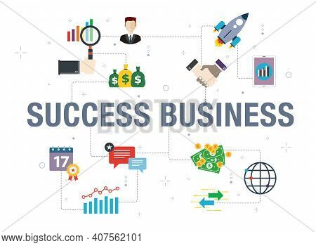 Success Business Concept With Icon Design In Vector On White Background. Vector Icons Of Rocket, Han