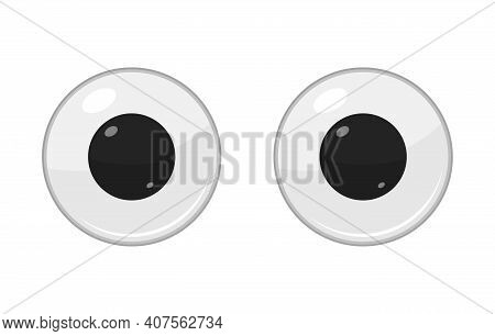 Cute Plastic Eyes For Toys, Dolls Isolated On White Background. Eyeballs Cartoon. Vector Illustratio