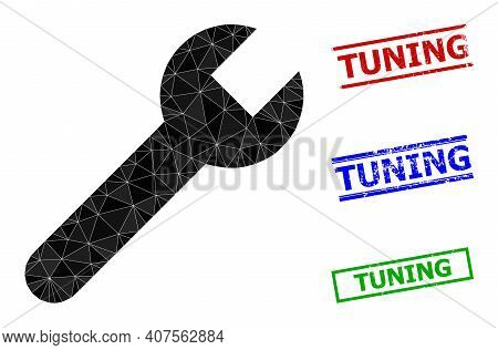 Triangle Wrench Polygonal Icon Illustration, And Grunge Simple Tuning Stamp Seals. Wrench Icon Is Fi