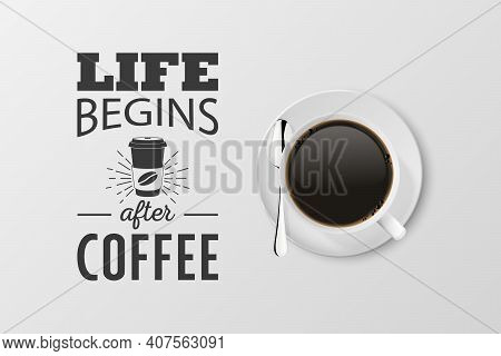 Vector 3d Realistic White Porcelain Ceramic Mug With Black Espresso, Mocha Isolated On White. Coffee